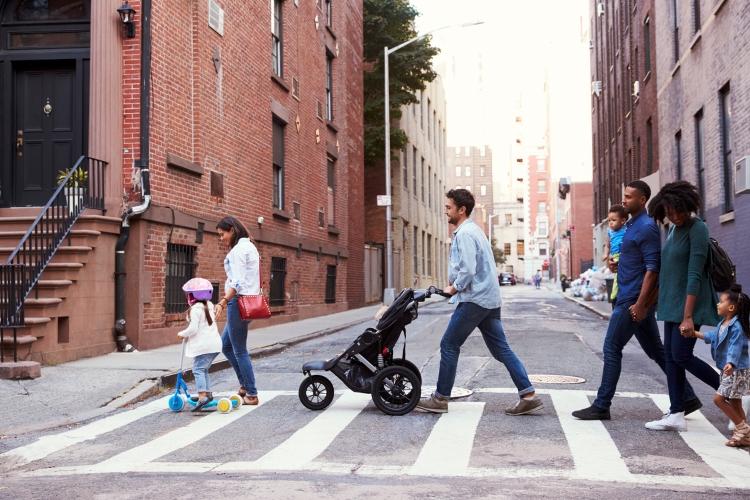 Families crossing street